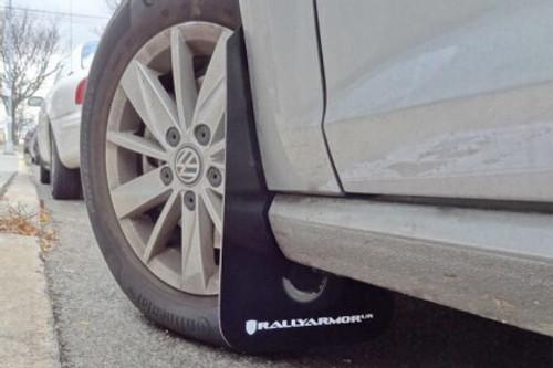 Rally Armor UR Black w/ White logo Mud Flaps for MK7 & MK7.5