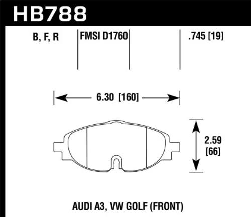 Hawk HPS Front Brake Pads (fits 312mm & 288mm rotors)
