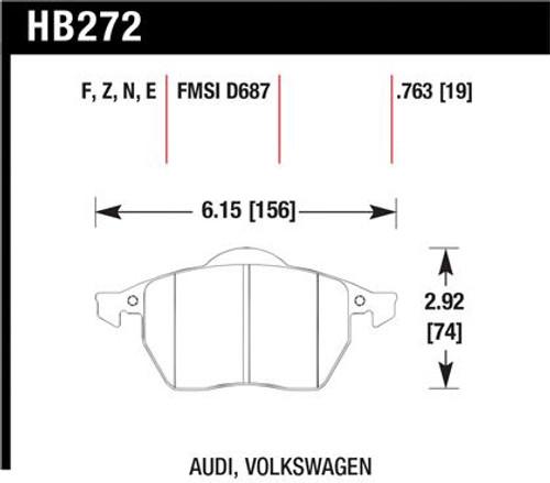Hawk HPS Front Brake Pads with wear sensor (fits most MK4 models)
