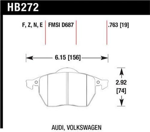 Hawk HPS 5.0 Front Brake Pads with wear sensor (fits most MK4 models)