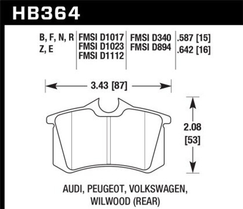 Hawk HPS 5.0 Rear Brake Pads (most 90's and 00's models)