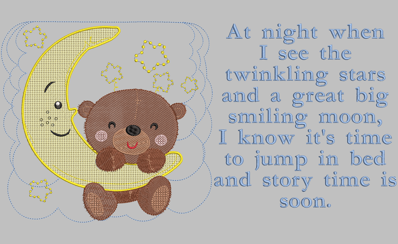 4e2bac11653 Bear and Moon Bedtime Embroidery Design    DIGITAL DOWNLOAD ...