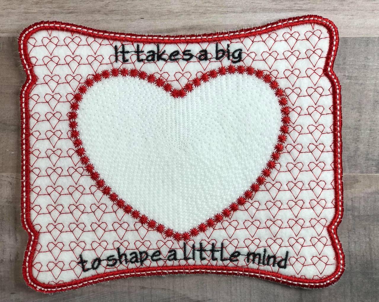 Teacher mug rug ith applique embroidery design digital