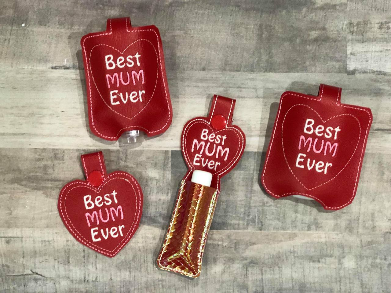 Best mum ever heart snap tab set applique embroidery design