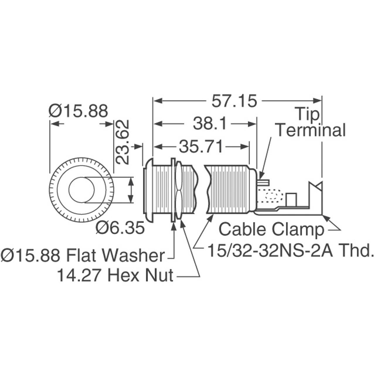 "Switchcraft #151 - 1/4"" Mono Barrel Jack"