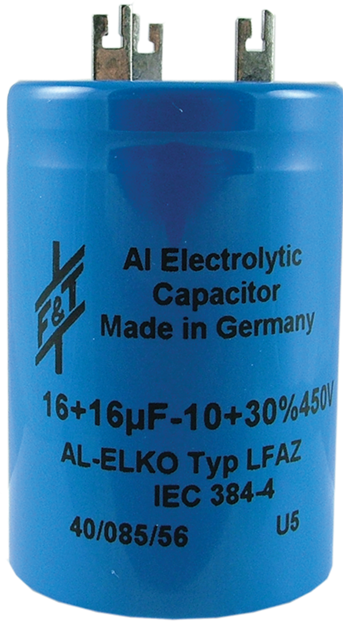 F&T Capacitor - Electrolytic, Multi-Section, Can, 16/16µF 450V