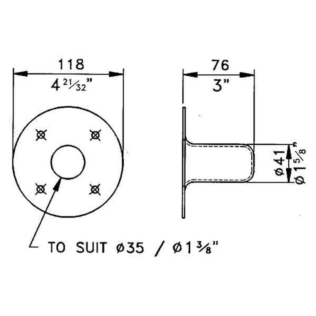 """Pole Socket - Steel for 3/8"""""""