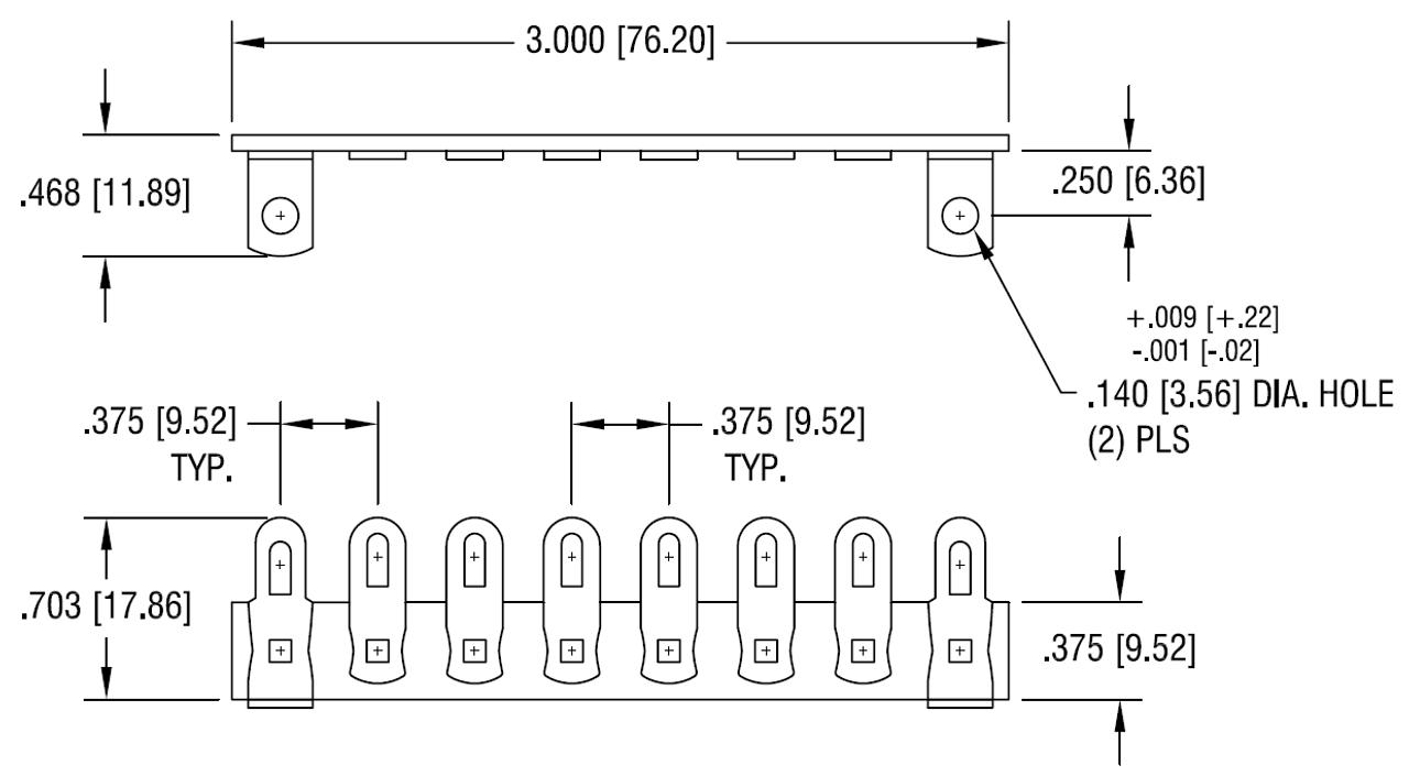 Terminal Strip - 8 Lug, 1st & 8th Lug Common, Horizontal