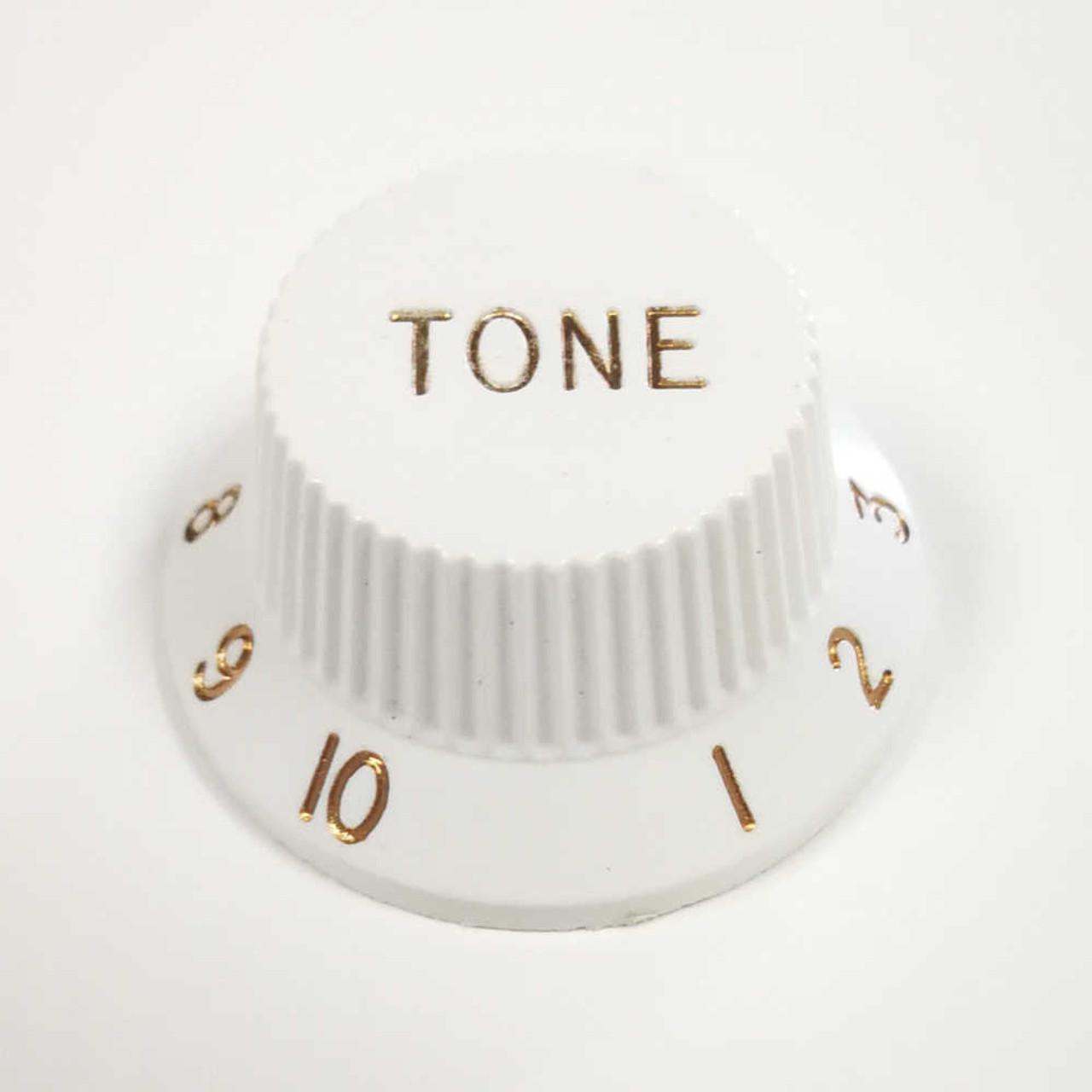Strat Knob Tone - 24-spline White