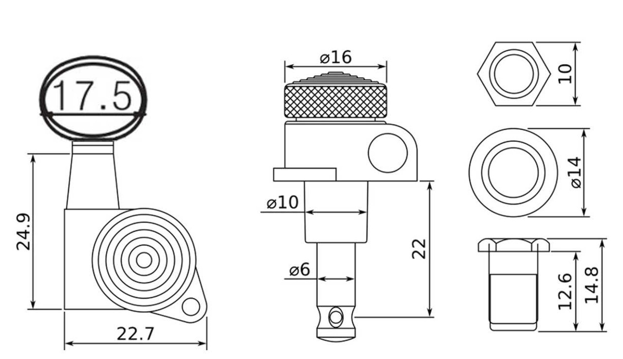 Locking Tuners - Technical Drawing