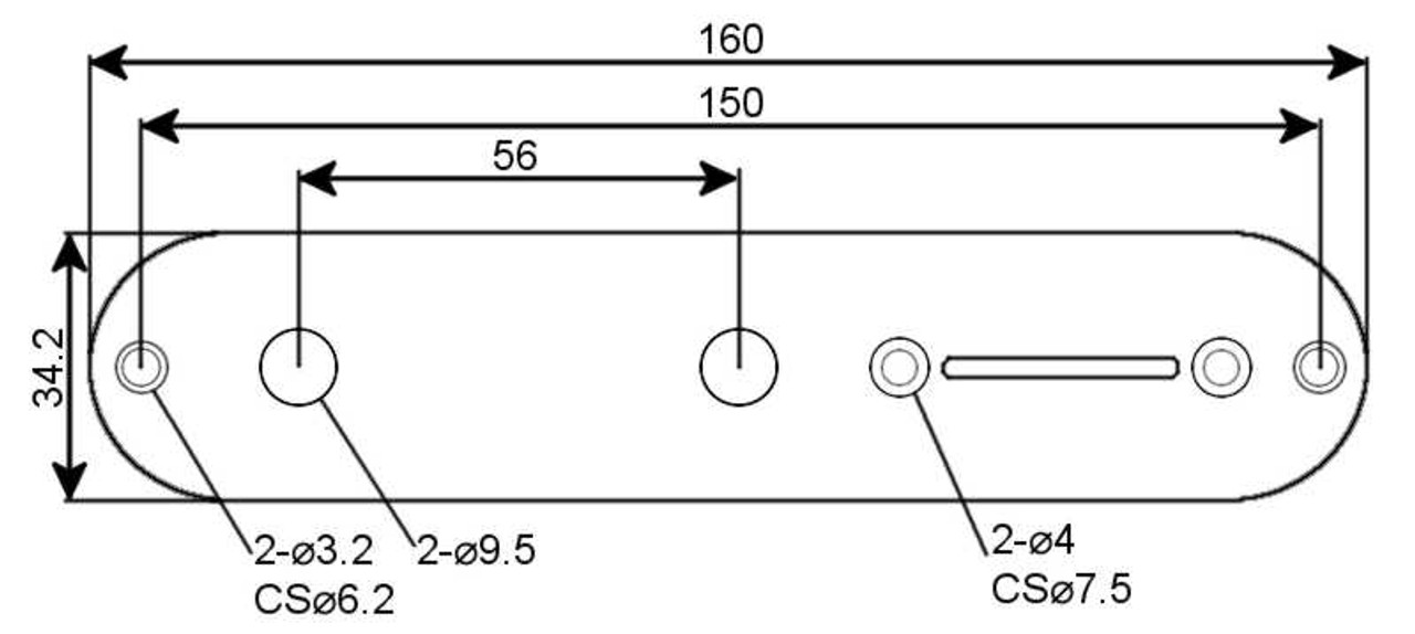 Control Plate - Telecaster US - Technical Drawing
