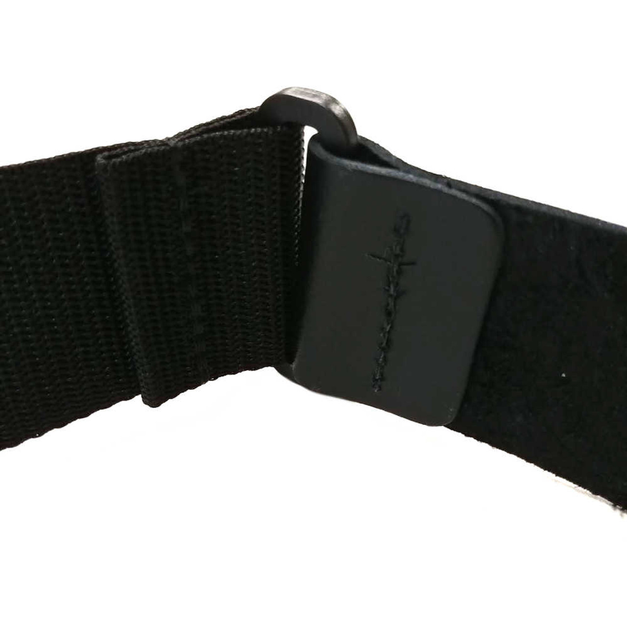 """2"""" Poly Strap /w Leather Ends - Black (Stitching)"""