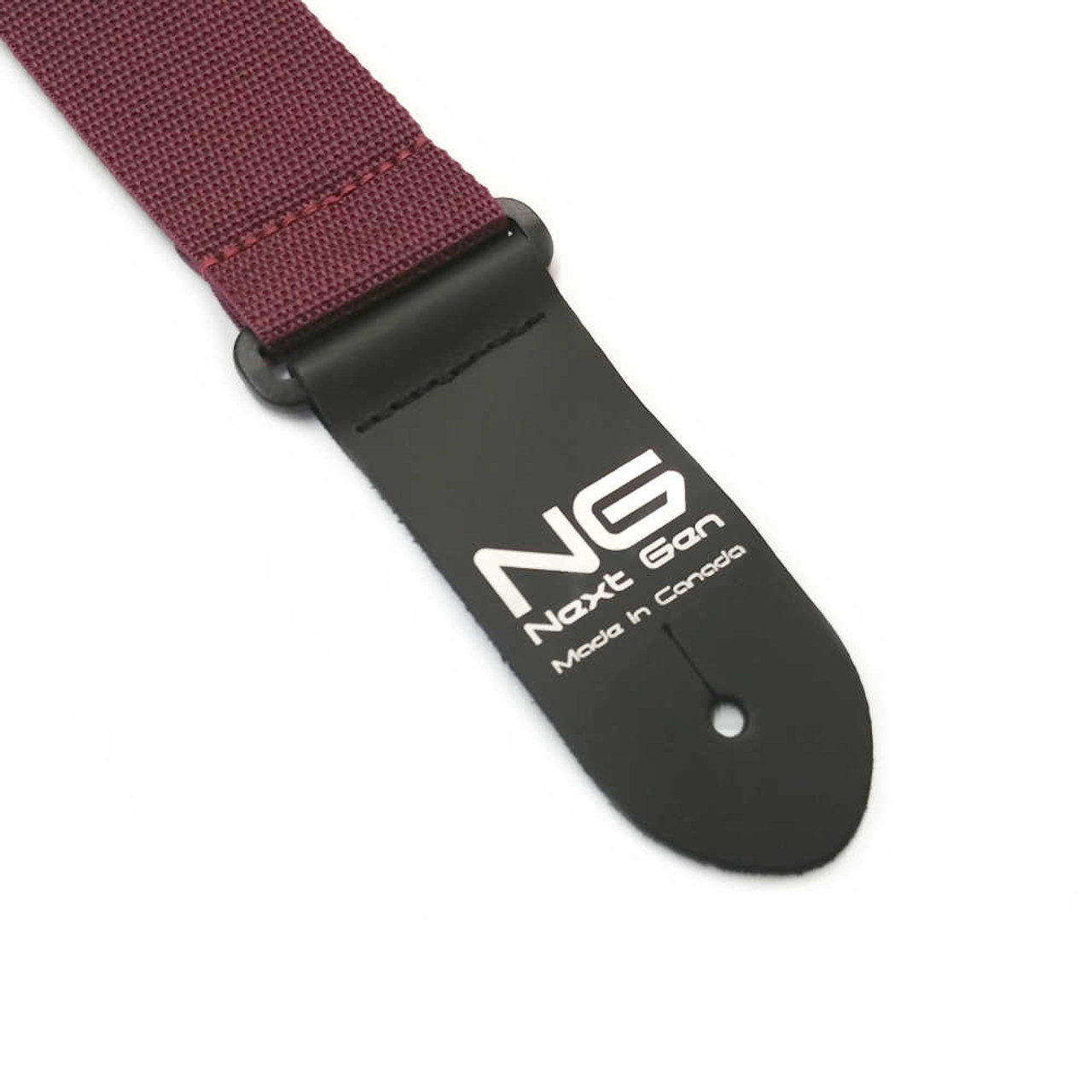 """2"""" Poly Strap /w Leather Ends - Burgundy"""