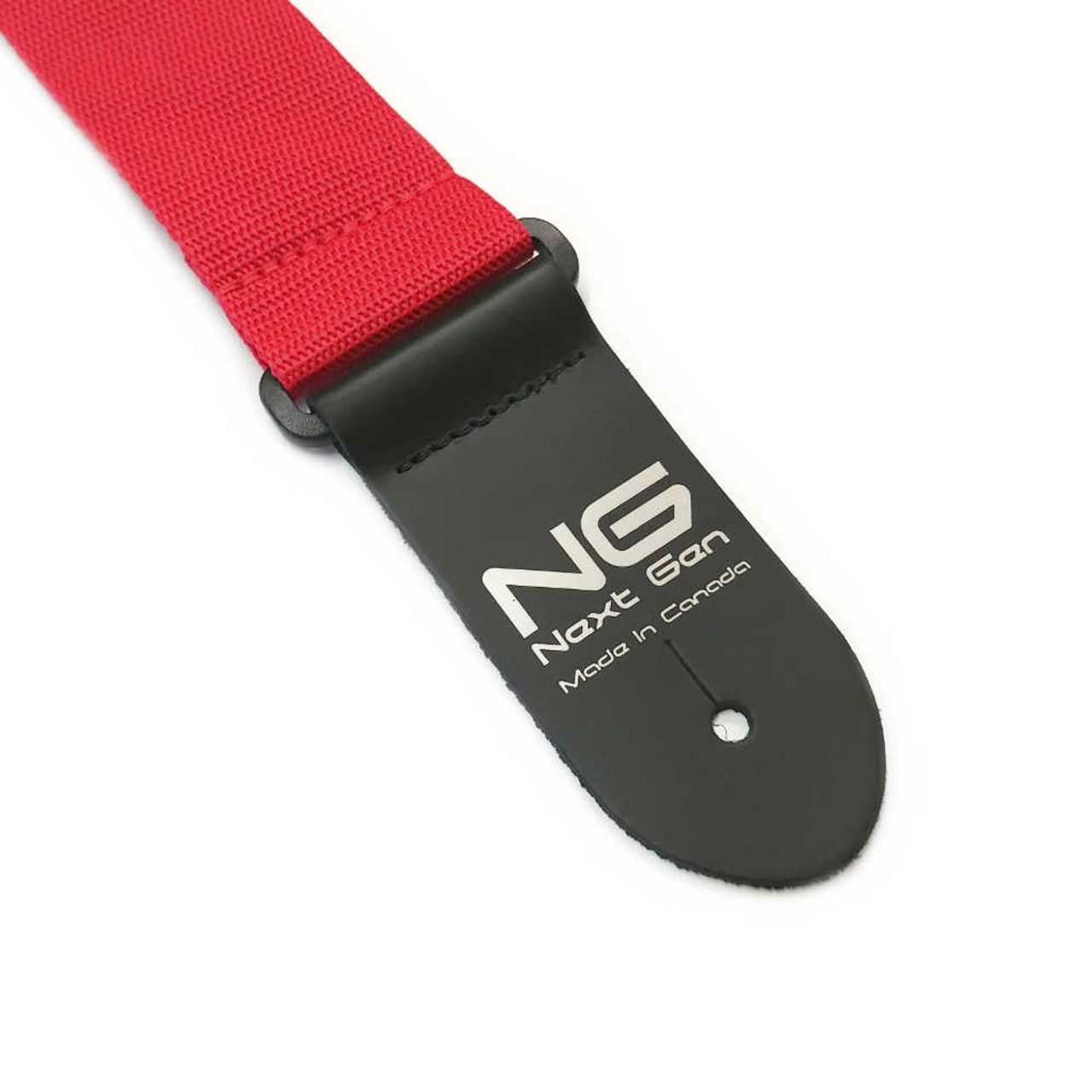 """2"""" Poly Strap /w Leather Ends - Red"""