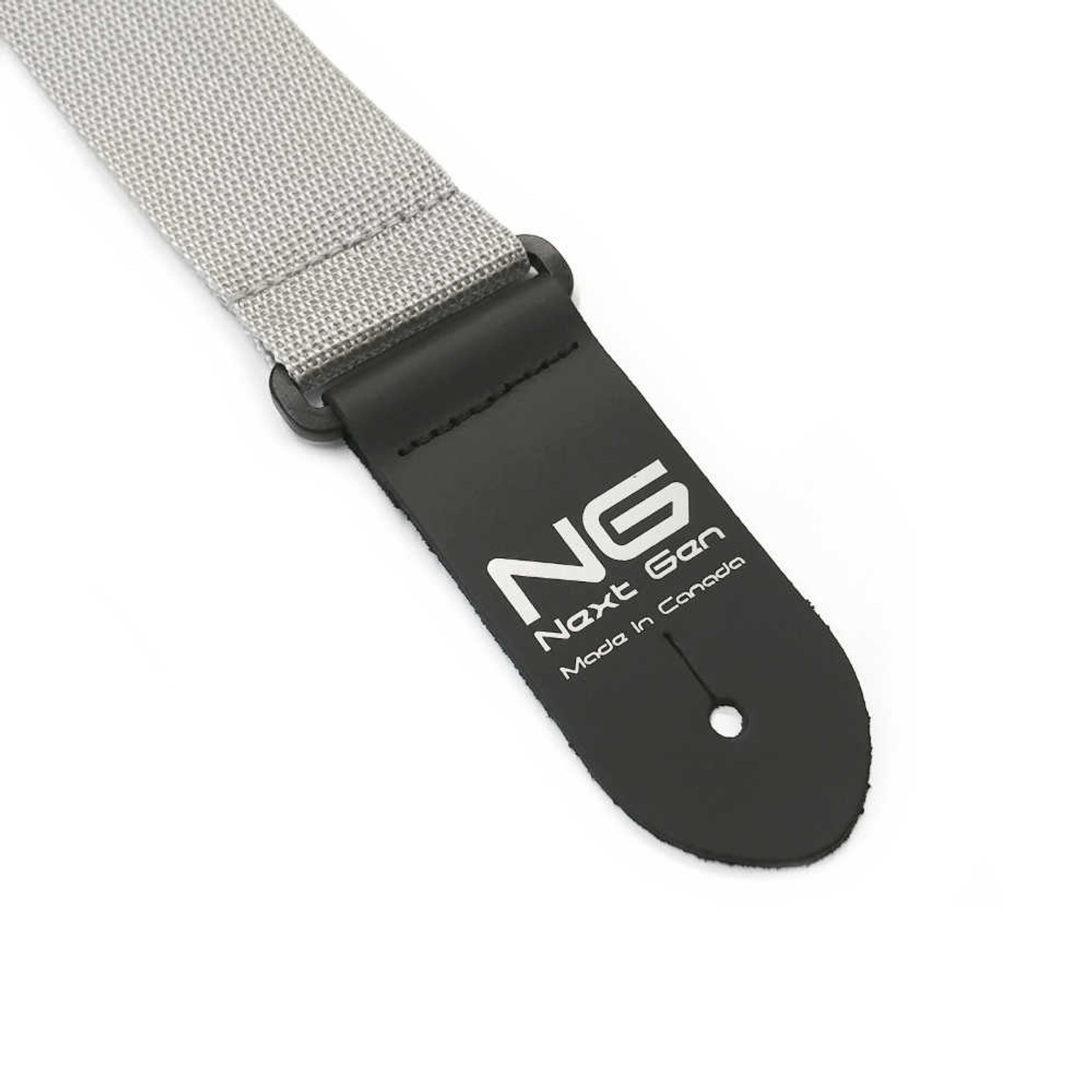"""2"""" Poly Strap /w Leather Ends - Gray"""