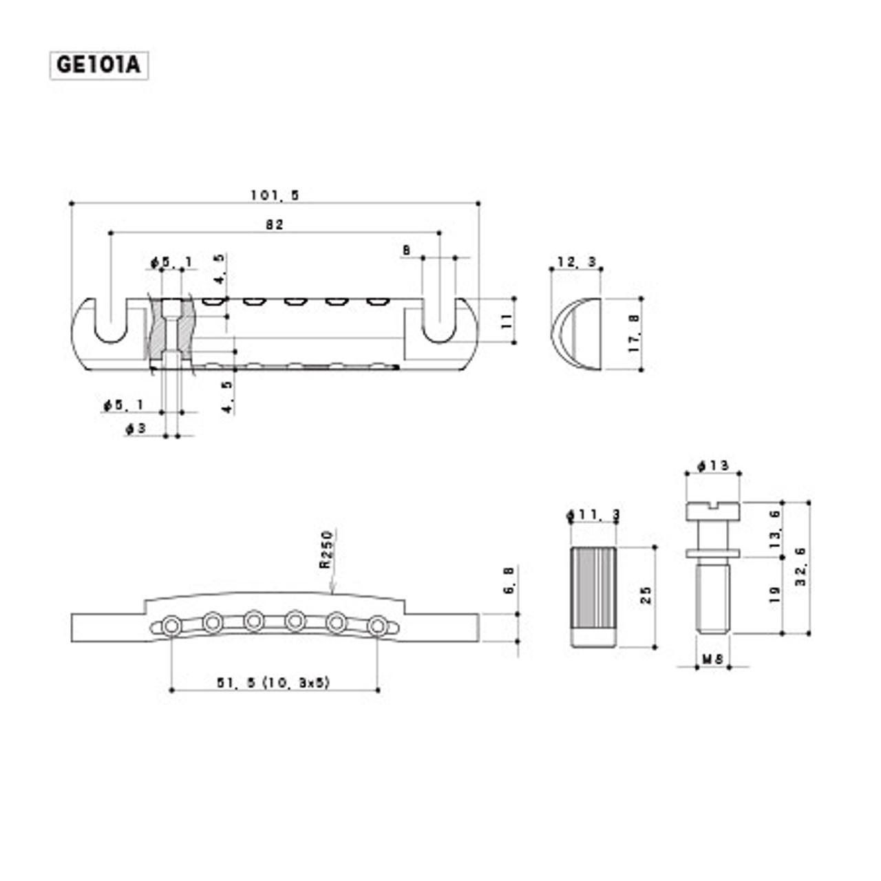Gotoh GE101A - Aluminum Tailpiece (choose finish)