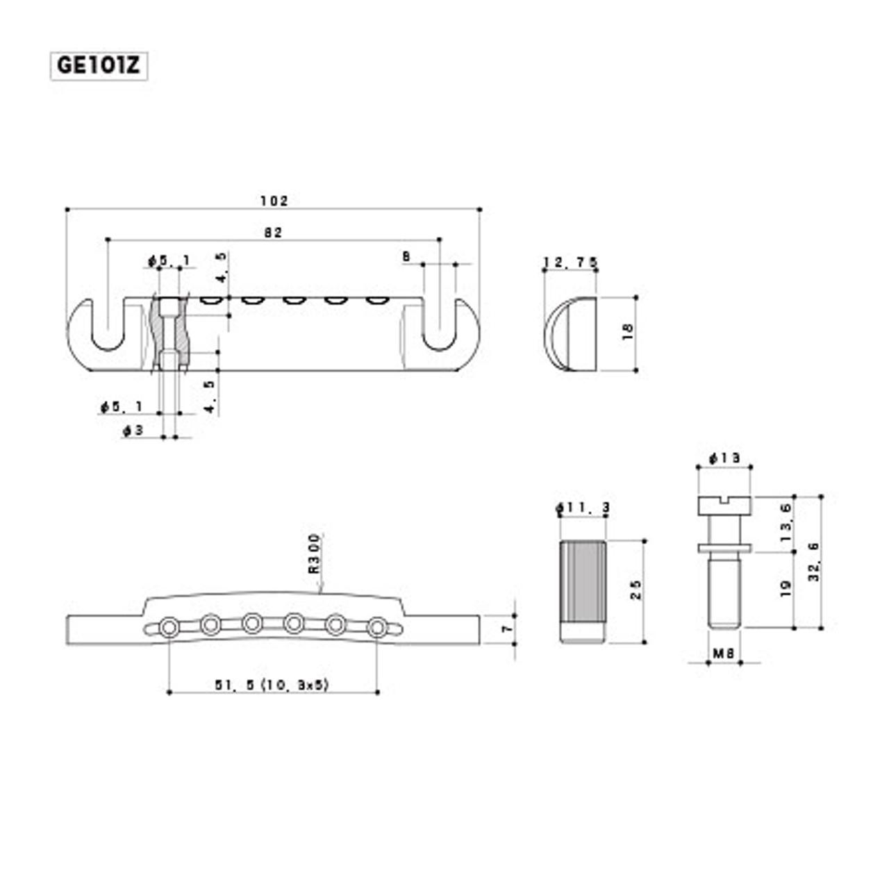 Gotoh GE101Z - Zinc Tailpiece (choose finish)