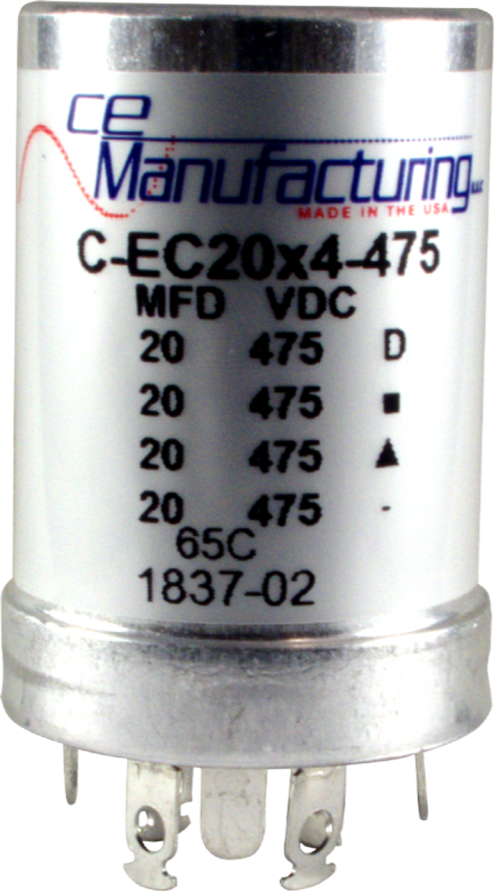 CE Capacitor - Electrolytic, Multi-Section, Can, 20/20/20/20µF 475V