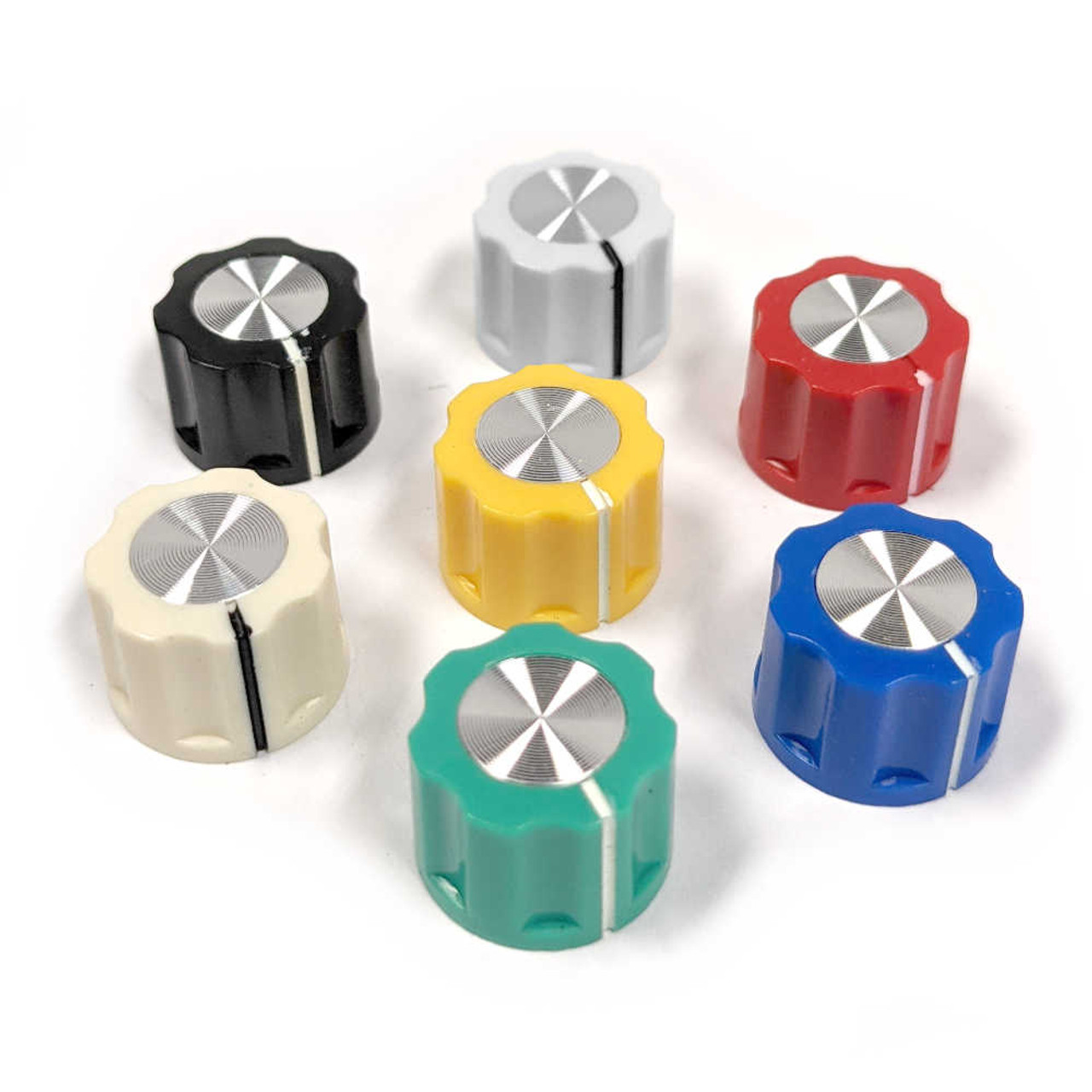 Fluted Silver Cap Knob - Small (Choose Colour)