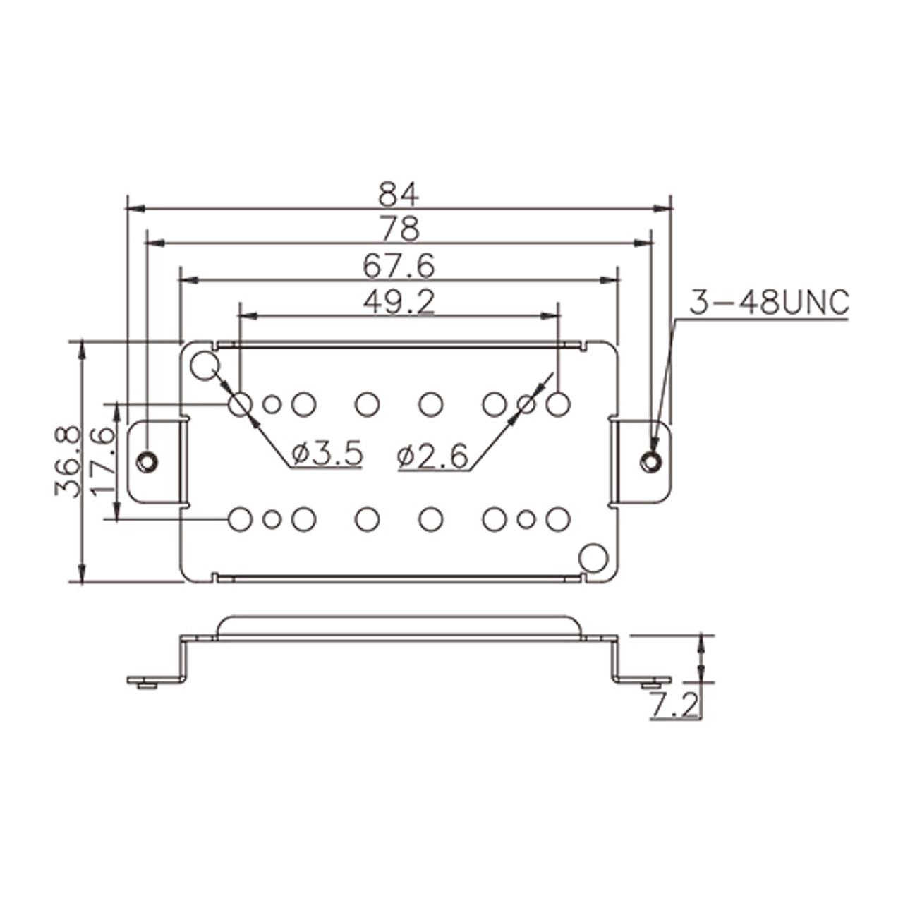 Pickup Baseplate - For Humbucker 49.2mm (nickel/silver)