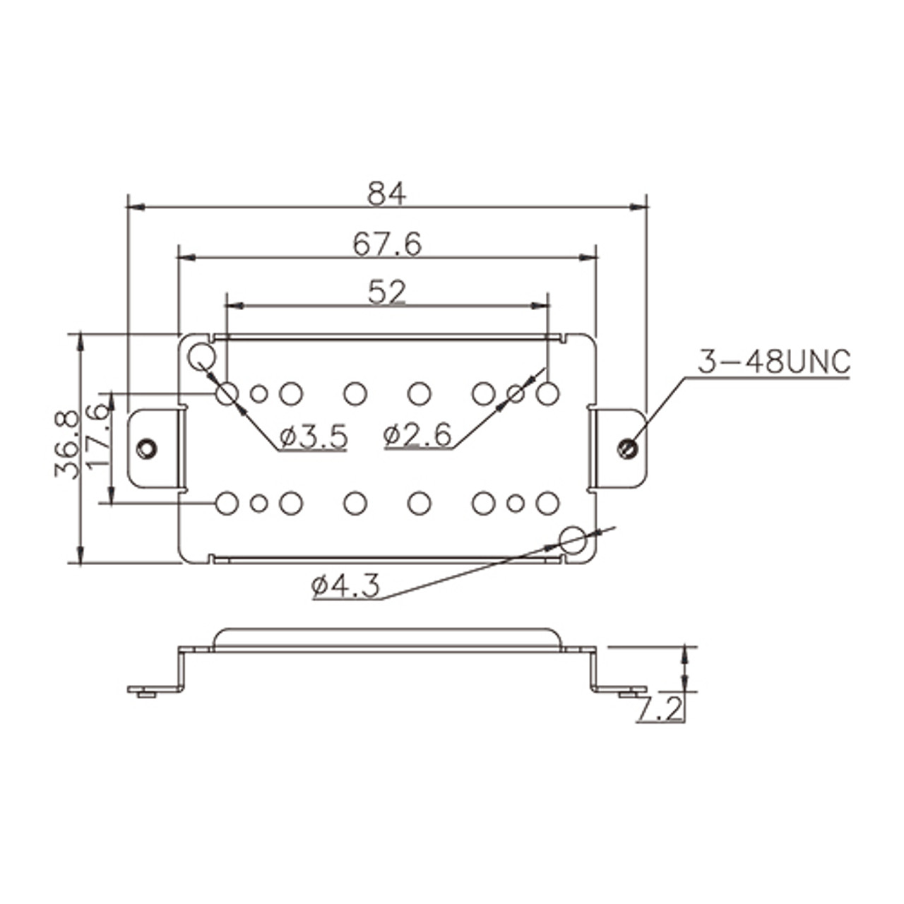 Pickup Baseplate - For Humbucker 52mm (nickel/silver)