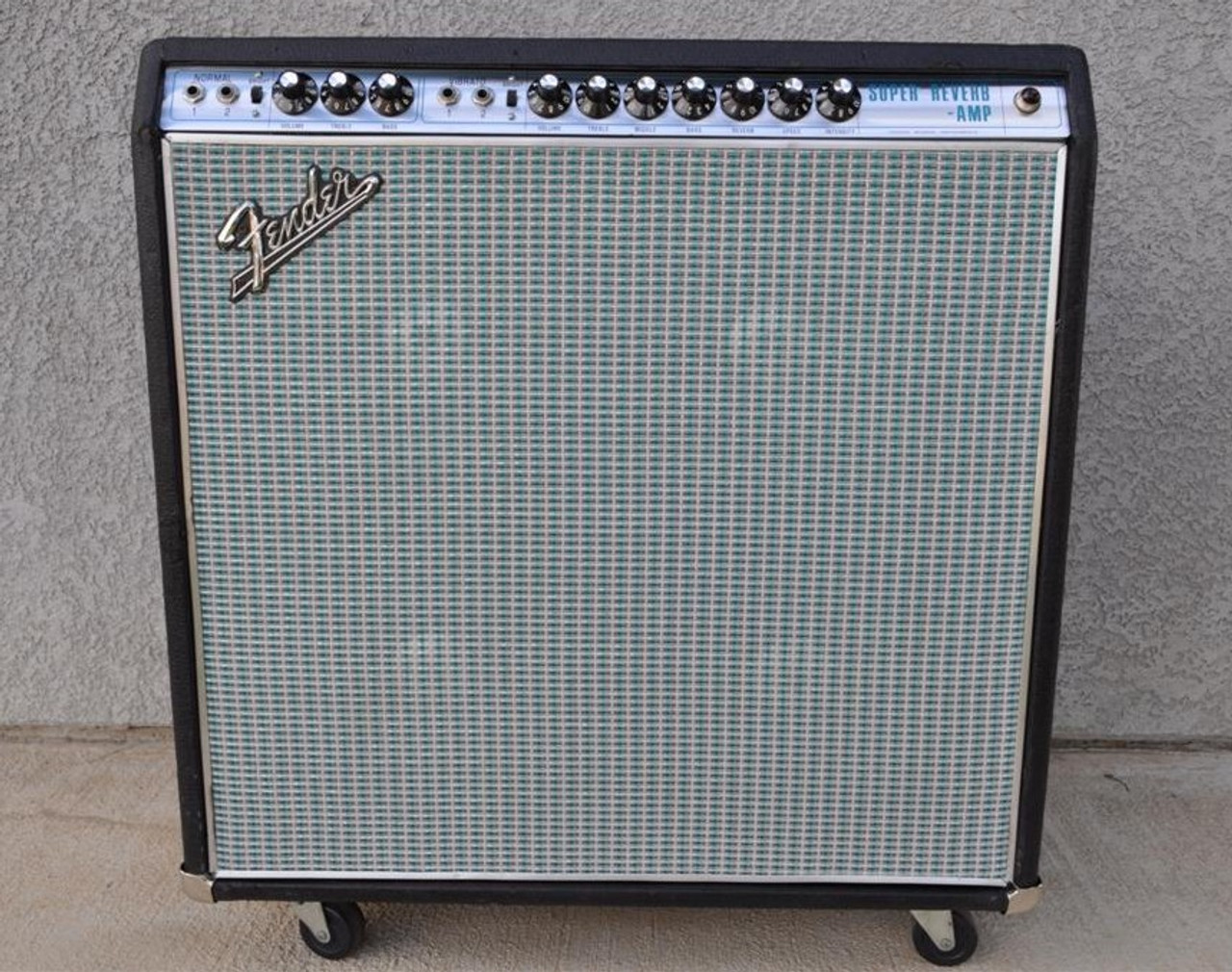 Grill Cloth - Fender Style Grey/Silver/Turquoise - Customer Example