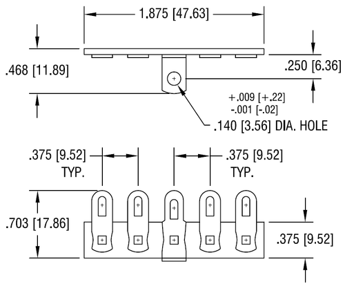 Terminal Strip - 5 Lug, 3rd Lug Common, Horizontal