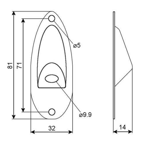 Jack Plate - Top Angle Technical Drawing