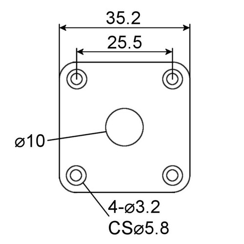 Jack Plate - Square Technical Drawing