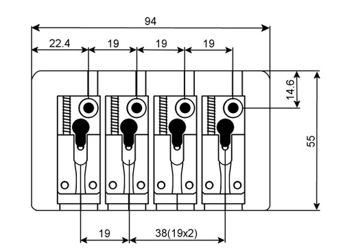 Duality Bass Bridge 4-string - Technical Drawing