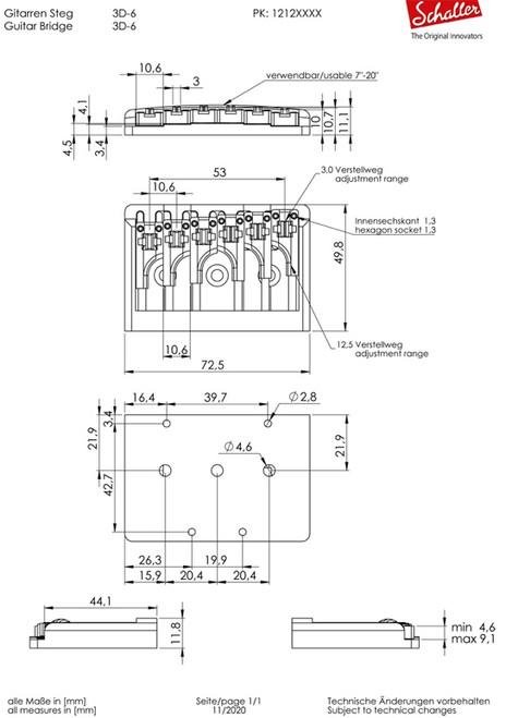 Schaller 3D-6 Bridge (choose finish)