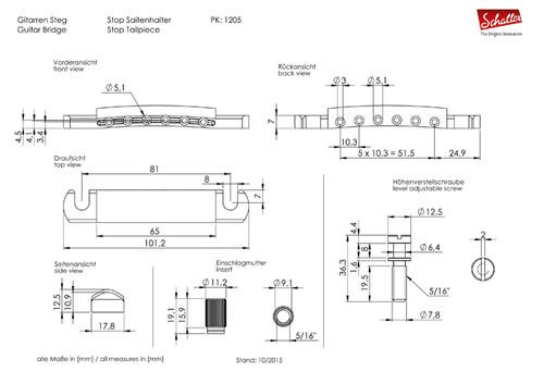 Schaller Stop Tailpiece (choose finish)