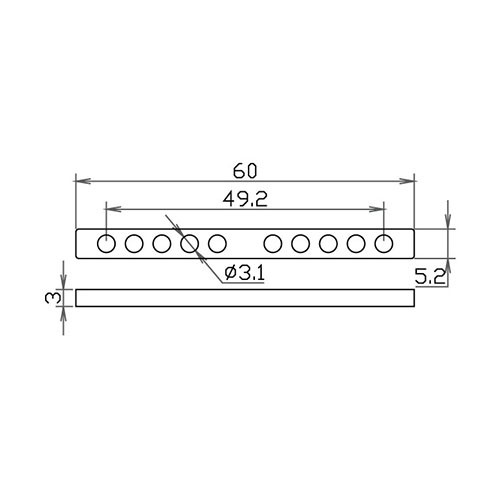 10 Hole Keeper Bar - 49.2mm