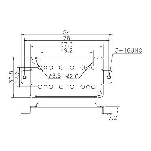 Pickup Baseplate - For Humbucker 49.2mm (brass)
