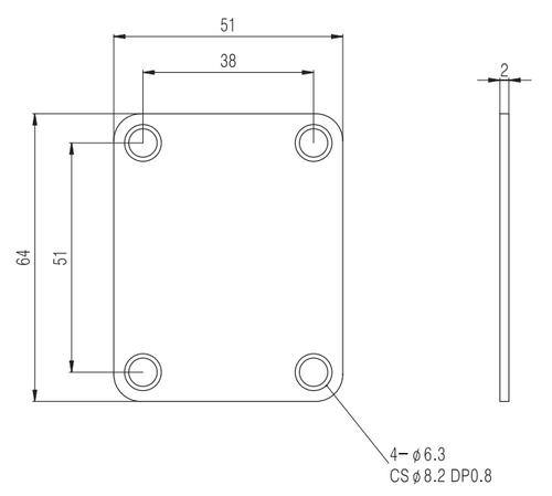 Square Neck Plate - Chrome