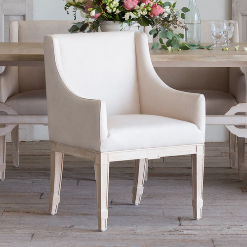 Eloquence® Scandinavian Dining Chair in Aged Beige Leather and Worn Oak Finish