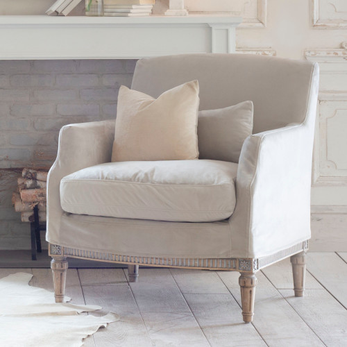 Eloquence® Louis Cannes Bergere in Cloudy Velvet Slip Cover and Starboard Oak Finish Shown with Accent Pillow