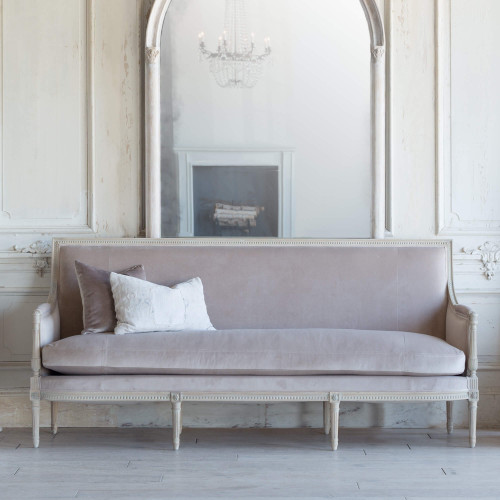 New Design, Eloquence® Minerva Sofa in Mocha Velvet and Nordic Oak Finish