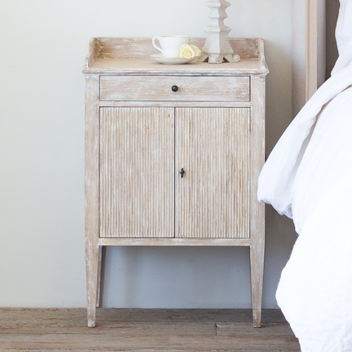 Eloquence® St. Lucia Nightstand in White Pepper Finish Double-Door Cabinet and Single Drawer in a French Style Bedroom
