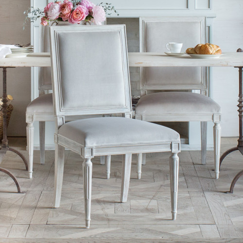 Eloquence® Francois Dining Chair in Fawn Velvet and Porcelain White Finish