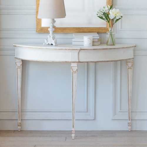 New Finish, Eloquence® Sophia Magdalena Demi Lune Console in Rosette White and Gold Trim Finish