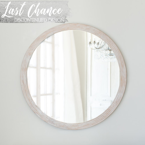 New Design, Eloquence® Round Ambrose Mirror in Lime-Washed Oak