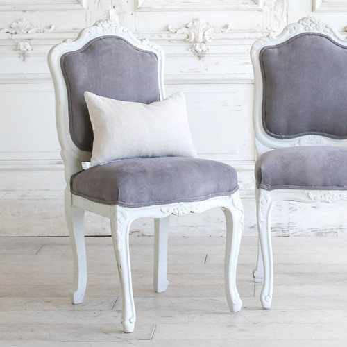 Pair of Vintage Light Grey Louis XV Side Chairs  SCVM76038-1