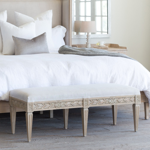Eloquence® Queen Anais Bench in Storm Linen and Nordic Oak Finish in a French Style Bedroom