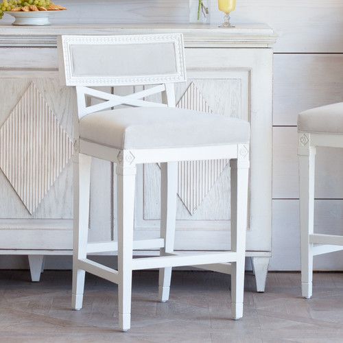 New Finish, Eloquence® La Belle Fleur Counter Chair in Cloudy Velvet and Alabaster Finish