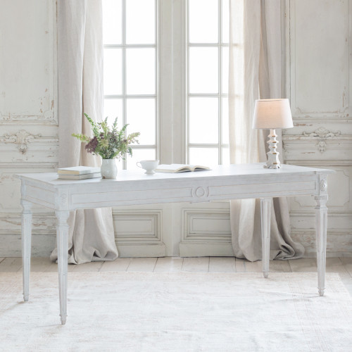 Eloquence® Grande Herra Writing Desk in Gustavian Grey Finish in French Style Office with Fireplace and Decorative Items