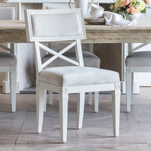 Eloquence® La Belle Fleur Dining Chair in Cloudy Velvet and Alabaster Finish