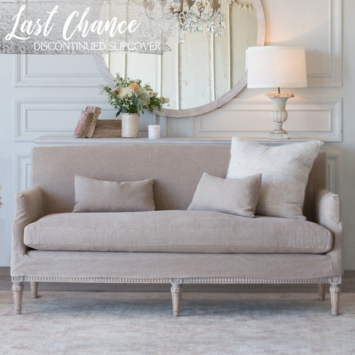 Eloquence® Louis Cannes Loveseat in Natural Linen Slipcover and Starboard Oak Finish