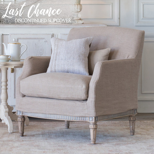 Eloquence® Louis Cannes Bergere in Natural Linen Slipcover and Starboard Oak Finish