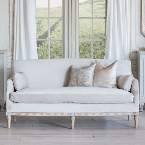 Eloquence® Louis Cannes Loveseat in Cloudy Velvet and Starboard Oak Finish
